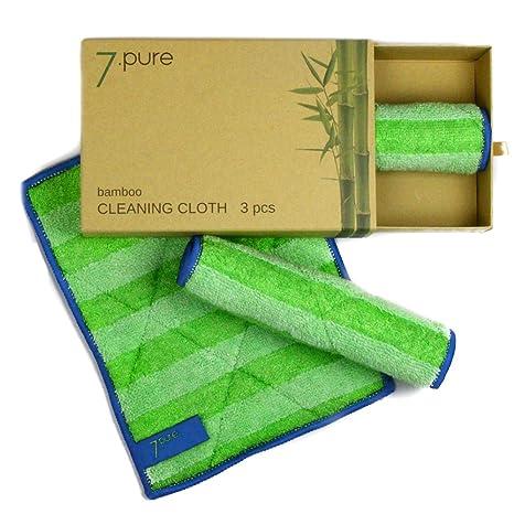 Bayetas de bambú 7.PURE | 3 unidades | 20 x 25 cm | Limpieza