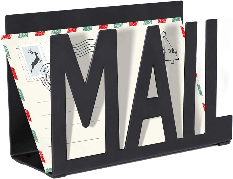 Interoceanic Mail Organizer, Metal Cutout Desktop Letter Holder, Black Letter Organizer