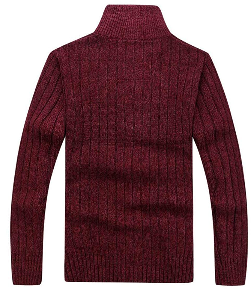 Twcx Mens Classic Warm Knit Zip-Up Stand Collar Winter Sweater Cardigan