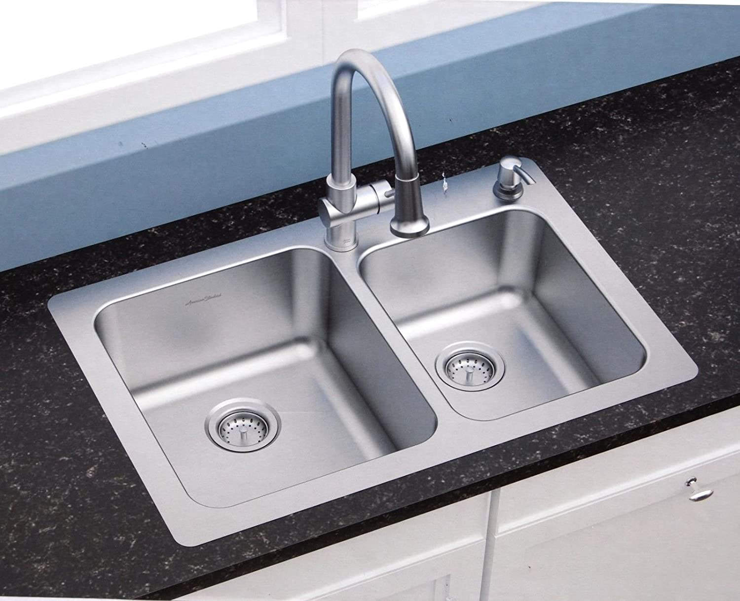 american standard 18 gauge 33 x 22 stainless steel kitchen sink with a stainless steel pull down faucet combo set     amazon com american standard 18 gauge 33 x 22 stainless steel kitchen sink      rh   amazon com