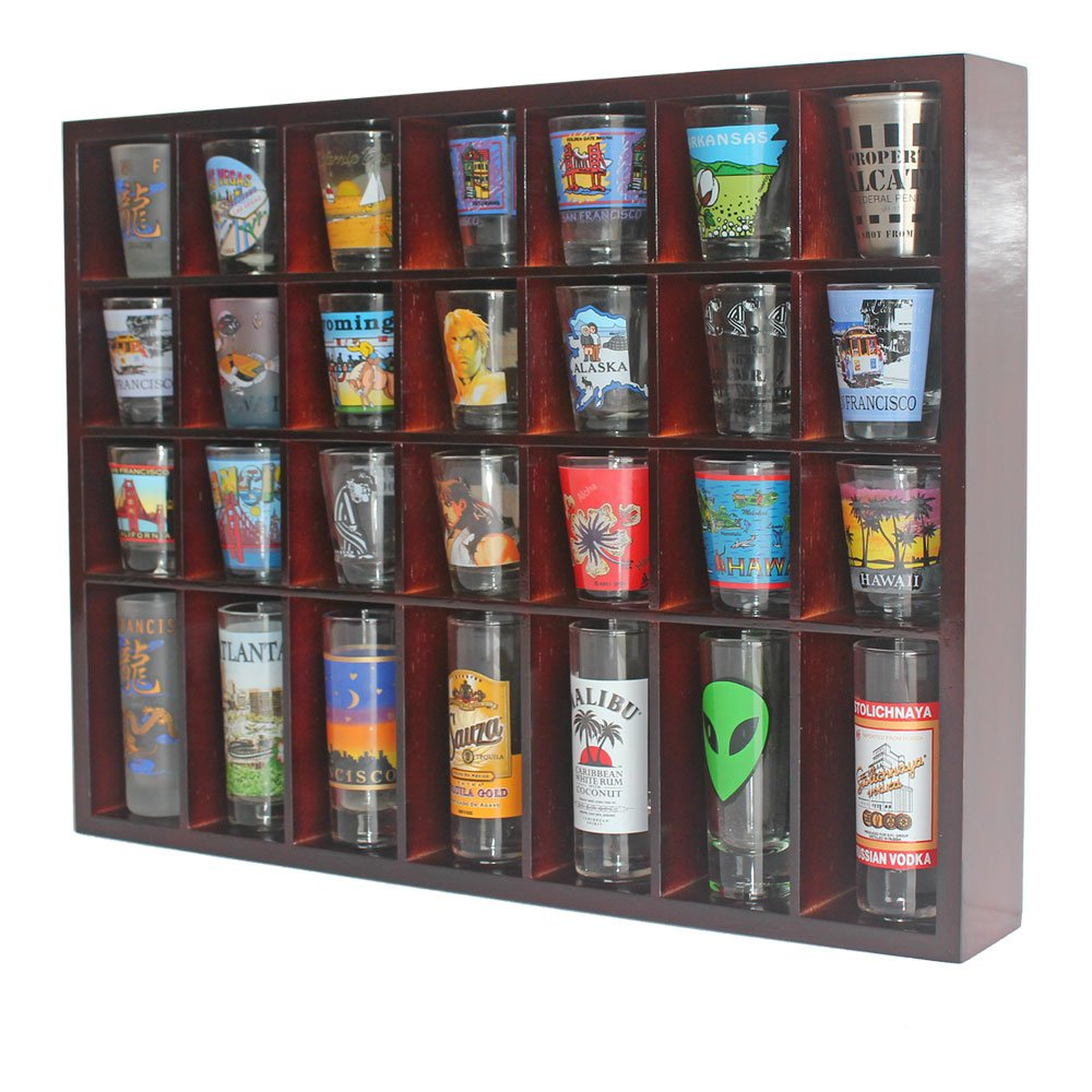 Amazon.com | 28 Shot Glass Shooter Display Case Holder Cabinet Rack, Solid  Wood, NO Door, Wall Mount, Mahogany Finish: Shot Glasses