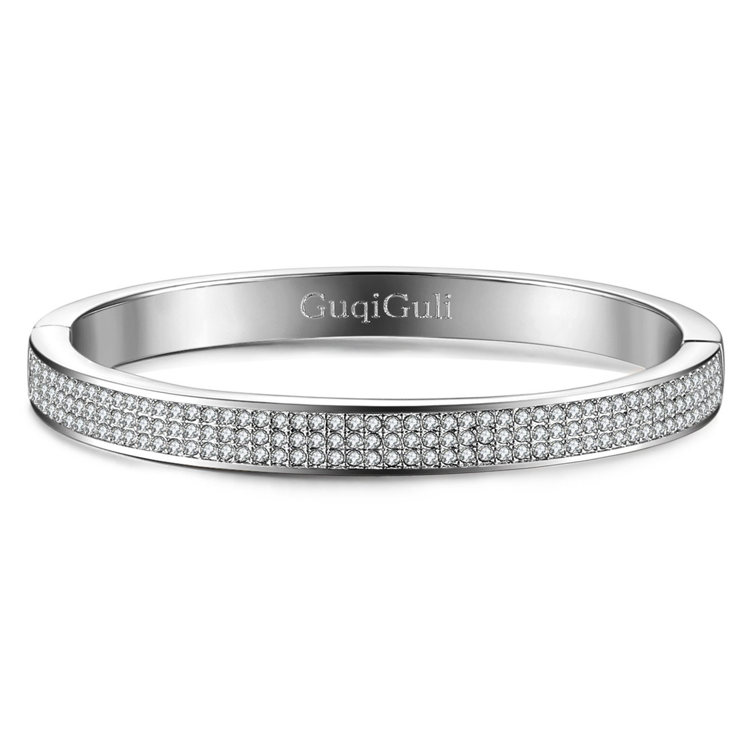 1e48608fc Amazon.com: GuqiGuli Swarovski Elements Crystal Pave Oval Silver-Tone  Bangle Bracelet for Women, 7.4'': Jewelry