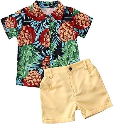 Conjunto de ropa de verano para niños pequeños y niñas, camisas y pantalones cortos, 2 piezas para caballeros