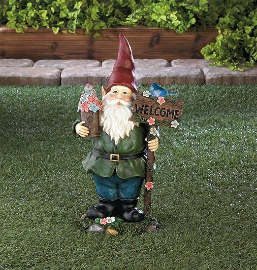 Estatua de gnomo de jardín solar, color azul, para gnomo: Amazon.es: Jardín