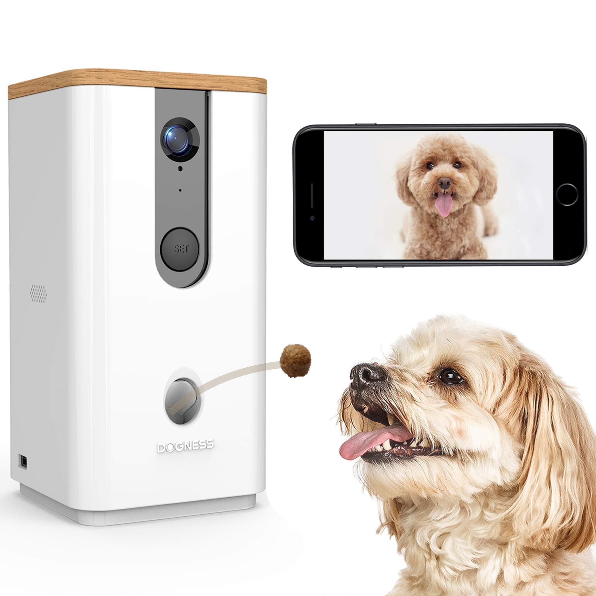 DOGNESS Dog Camera Treat Dispenser,HD Video WiFi Pet Camera with 2-Way Audio and Night Vision,Monitor Your Dogs and Cats