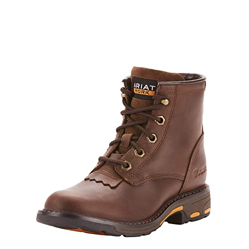 Ariat Unisex Workhog Lacer Western Boot, Brown, 5 M US Big Kid best kids' paddock boots