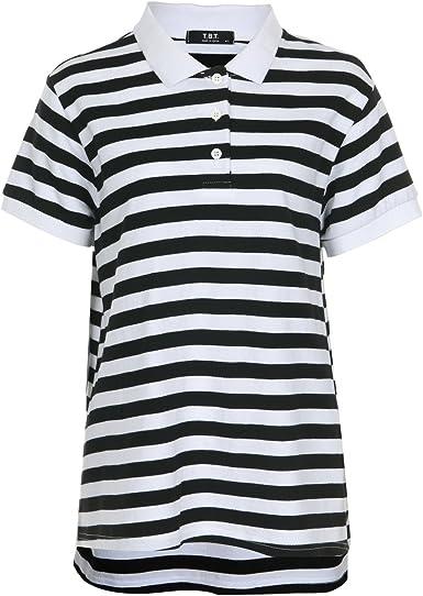 T.B.T. Women's Fine Cotton Fashion Polos Mono Stripe at Amazon Women's  Clothing store