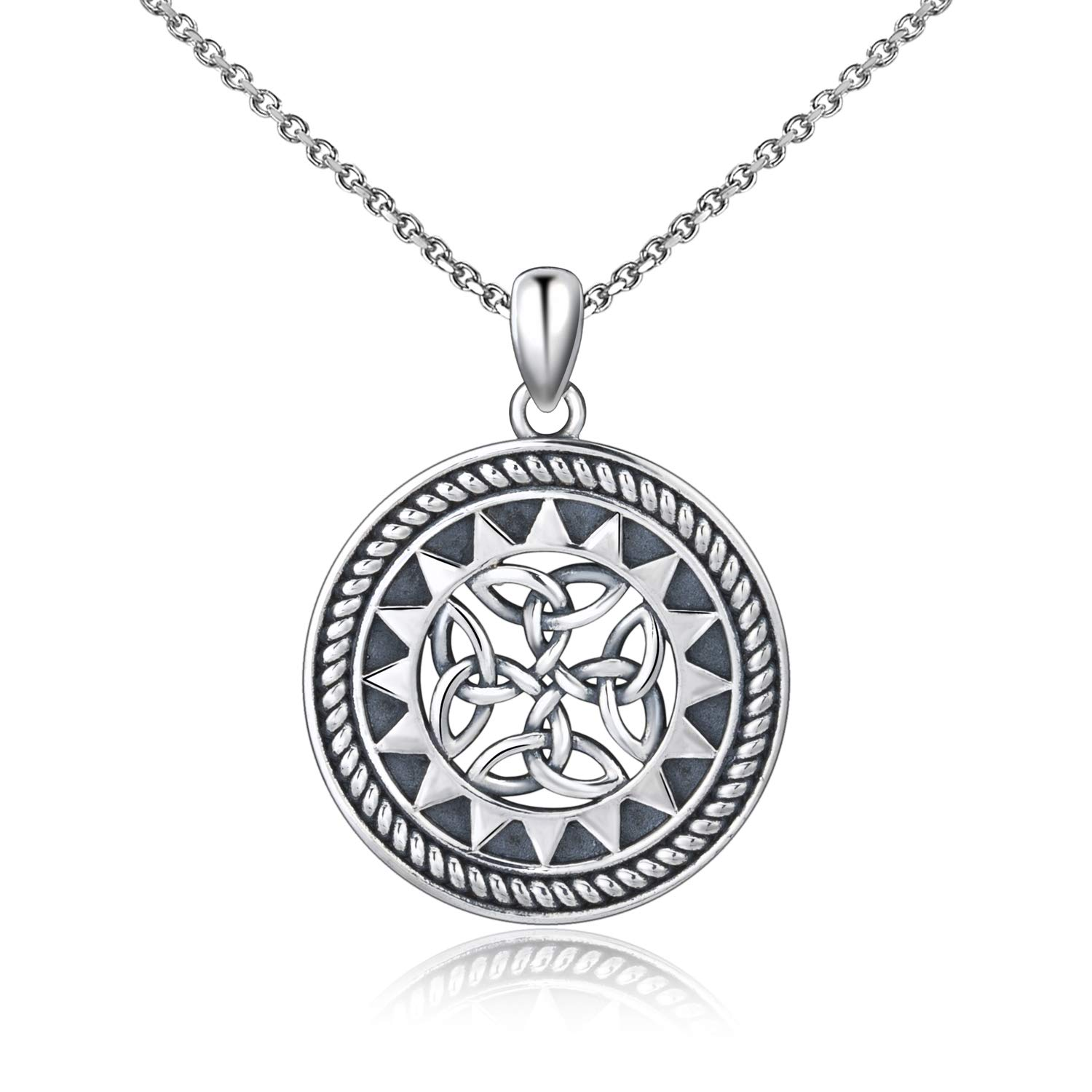5f43f320d3f5 MANBU Jewelry Medallion Celtic Knot or Classical Cross 925 Sterling Silver  Necklace Pendant Gifts for Women Girls