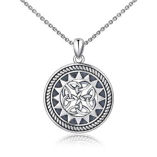 79bbb65f0645 MANBU 925 Sterling Silver Jewelry Oxidized Good Luck Irish Knot Celtic  Classic Cross Medallion Round Pendant