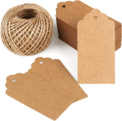 Eduton 100 Pieces Kraft Paper Labels Different Forms of Paper Labels with Rope Tags Kraft Paper DIY Decoration Kraft Paper /& Rectangle:30 * 50mm
