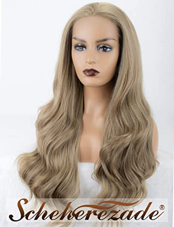 Amazon.com   Scheherezade Ash Blonde Lace Front Wig Straight Long Hair with  Free Part Synthetic Ashy Blonde Wig for Women Glueless Cheap Straight Lace  Front ... 999132ead3ed