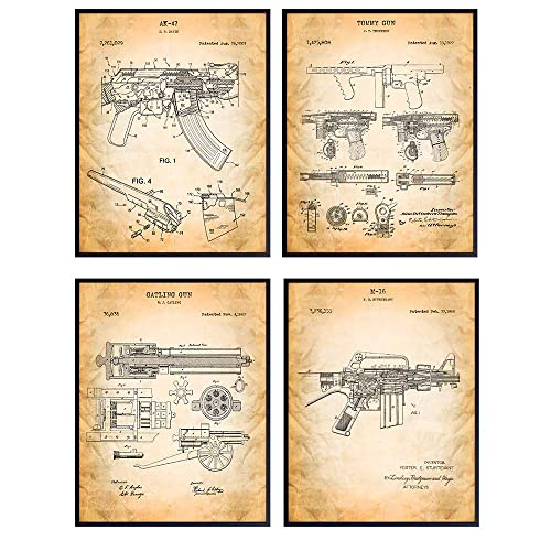Automatic Rifle Gun And Pistol Set Of 4 Patent Prints Unframed Poster Art