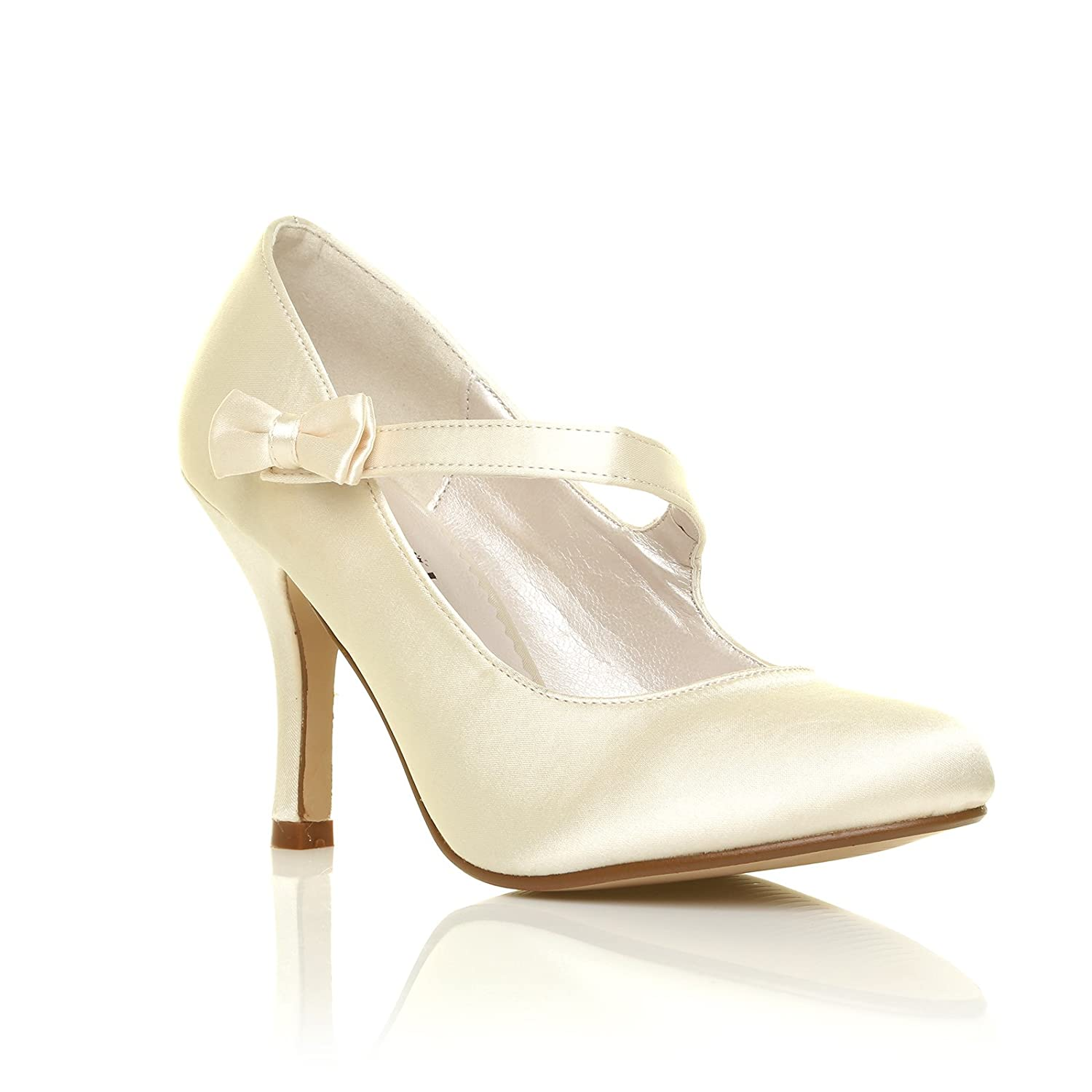 bb56d06a1861 CHARLOTTE Ivory Satin High Heel Bridal Bow Mary Jane Shoes Size UK 6 EU 39   Amazon.co.uk  Shoes   Bags