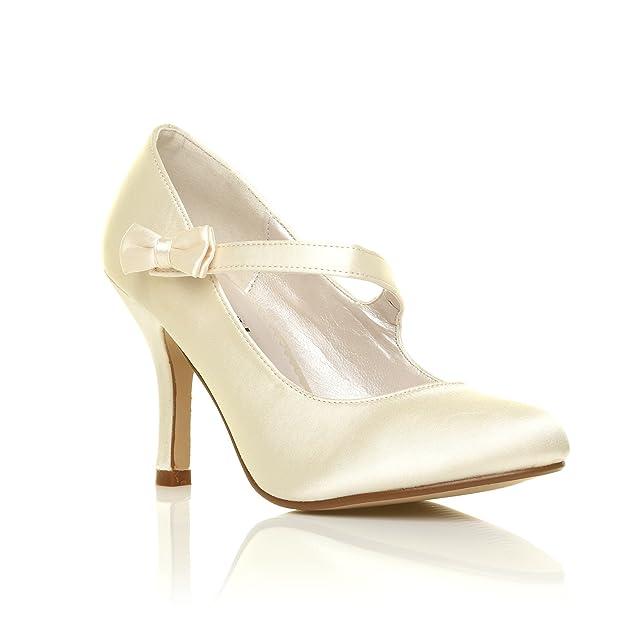 CHARLOTTE Elfenbein Satin High Heels Braut Schleife Mary Jane Schuhe:  Amazon.de: Schuhe & Handtaschen