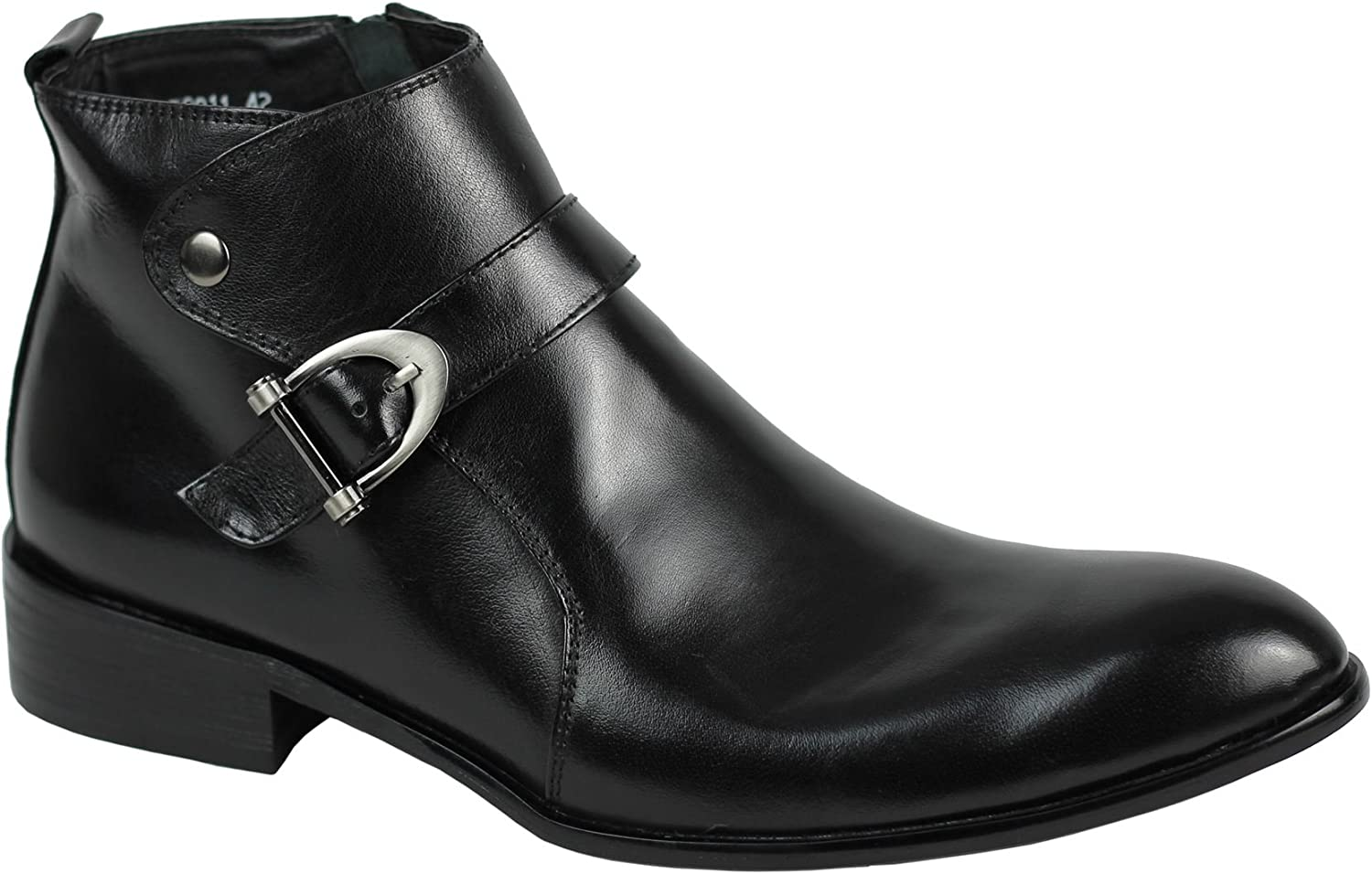 Mens Real Leather Black Side Buckle