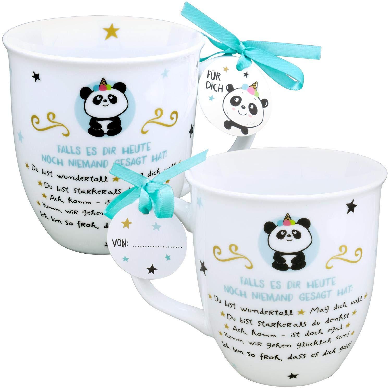 Text Immer f/ür das n/ächste Abenteuer bereit Porzellan Boho Chic 44933 Tasse mit Motivdruck im angesagten Look Innendruck