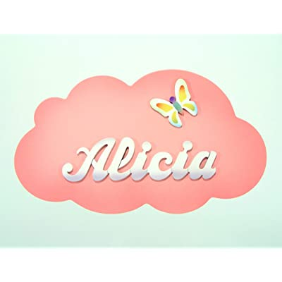 Placa-Cartel personalizado con el nombre en letras de madera, regalo infantil con forma de *nube*, original para decoración de pared o puerta en la habitación.