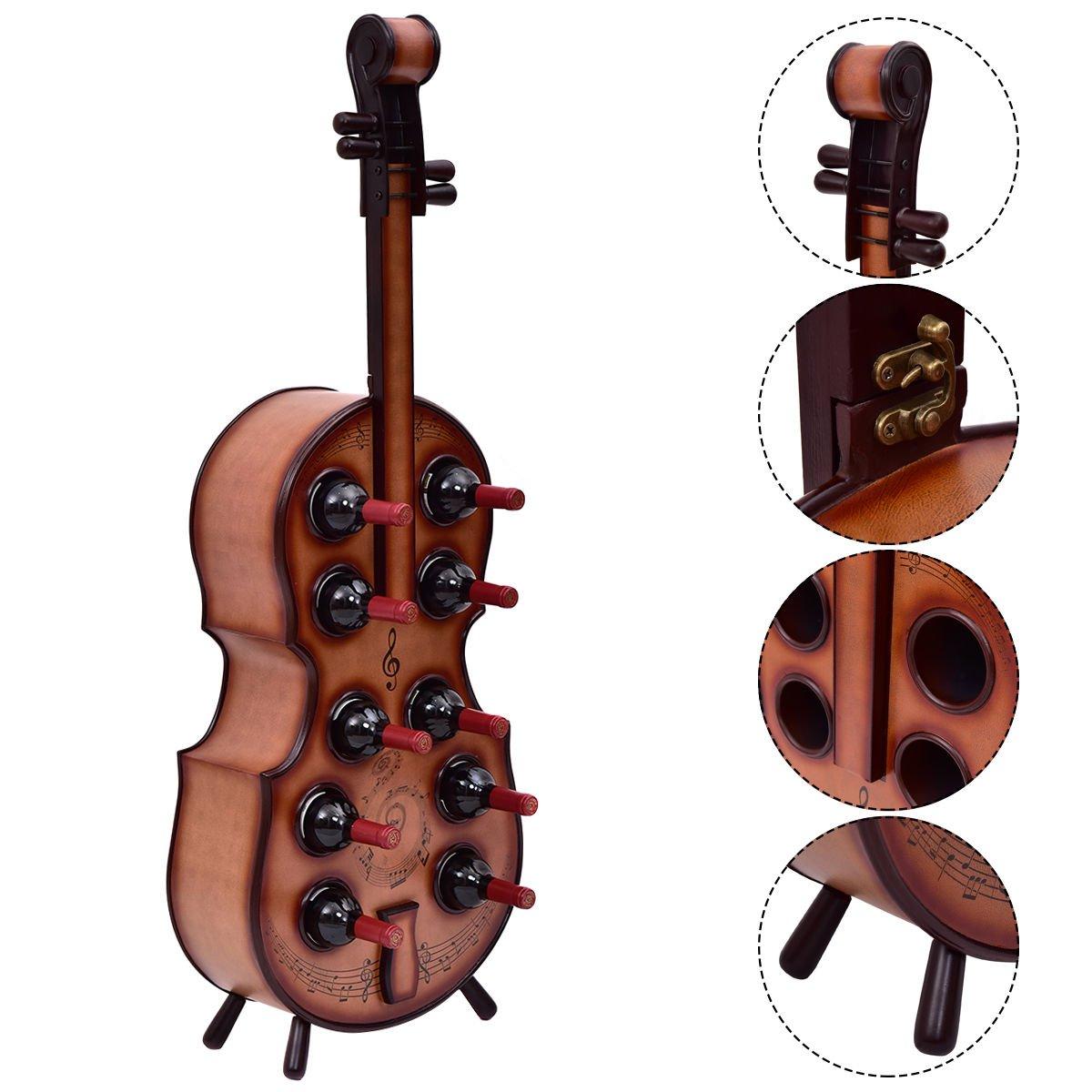 Wine Rack Violin Cello Bottle Holder 16th Century Liquor Shelf Wood 10 Bottles