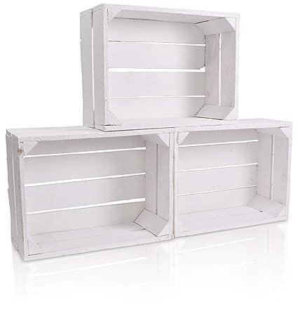 CHICCIE Caja de Madera en Blanco, en Vintage Look – , Distintos tamaños Color Blanco