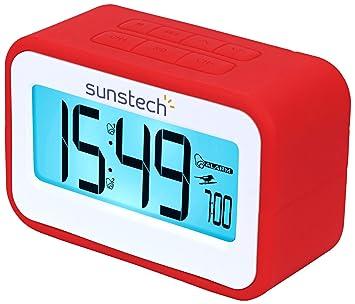 Sunstech FRD30URD - Radio despertador (FM digital, alarma dual, función Snooze, termometro, USB de carga, silicona) rojo