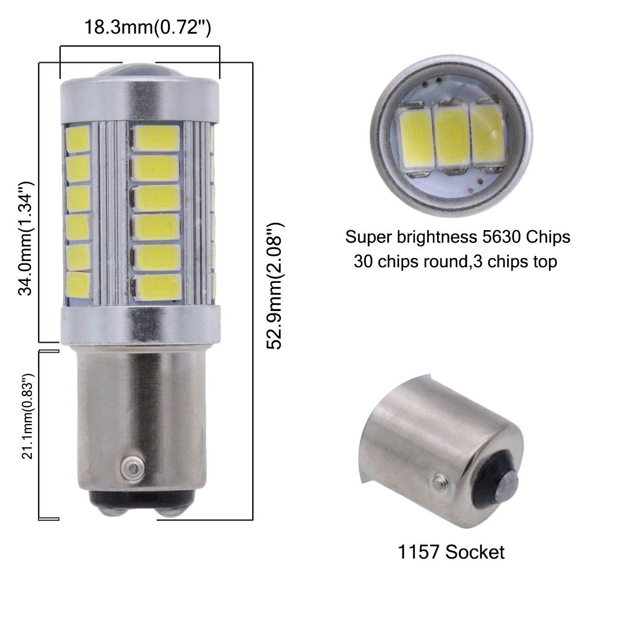 PY21W 12496 Tuincyn rosso BAU15S 7507/5630/33SMD lampadine LED 8000/K 900/lumen/luminoso frena comando frecce lampadina Side Marker Lamp DC 12/V 3.6/W 5009 confezione da 4 1056