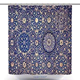 vanfan-Polyester Shower Curtains Gold And Blue Ceiling In A Muslim Mosque Islamic Traditional Religious Ornament Polyester Bathroom Shower Curtain Set With Hooks(72 x 96 inches)