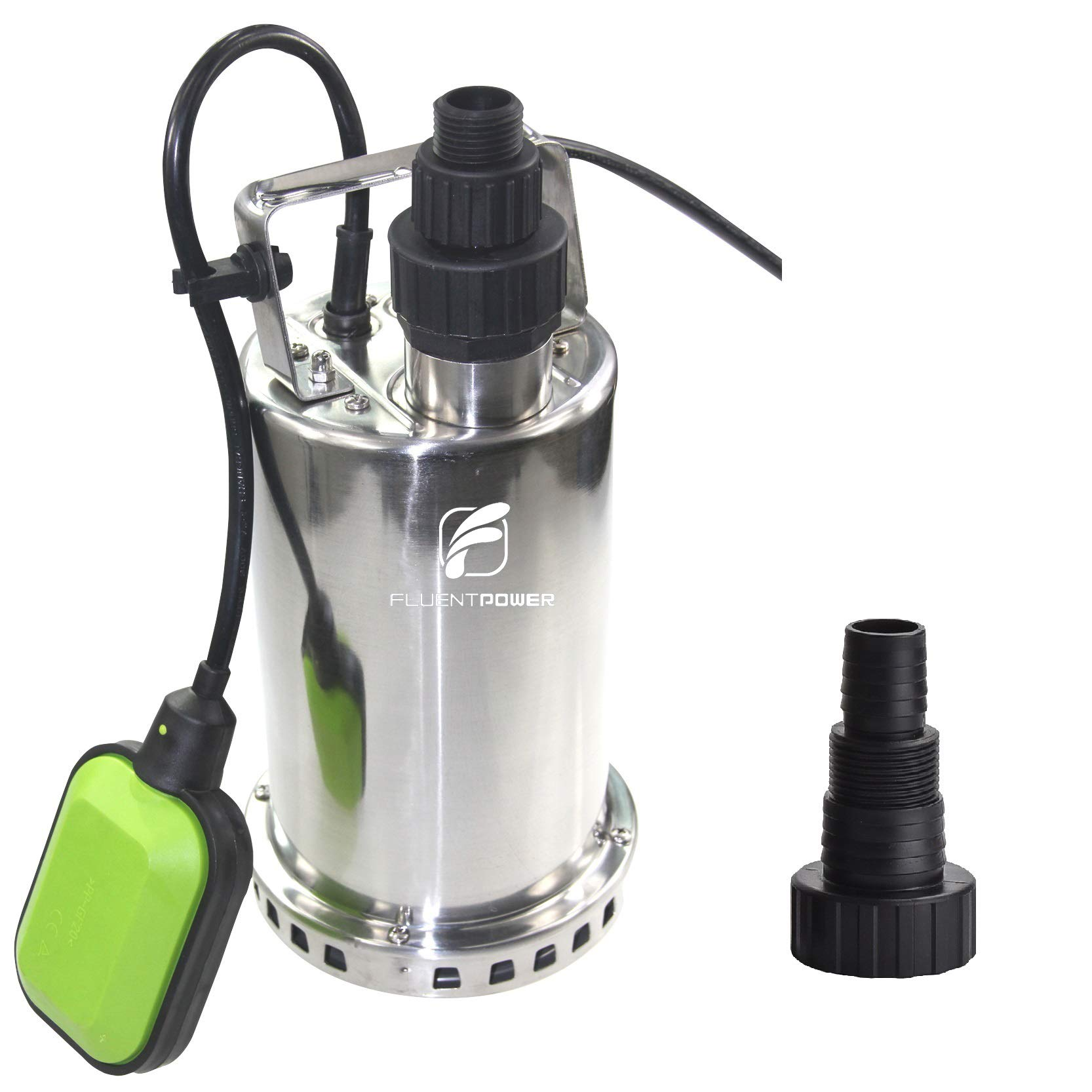 FLUENTPOWER 3/4 HP Utility Pump with Full Stainless Casing, Submersible Sump Water Pump with Float Switch,Max Lift 27 Ft and Max Flow 3300 GPH, 3/4'' Garden Hose Adapter and 1''&1.5'' MNPT Included by FLUENTPOWER