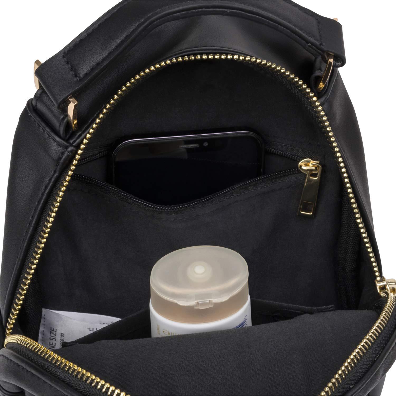 Mini ryggsäck dam – Expatrié Pauline Crossbody väska av veganskt konstläder – axelremsväska, axelväska & mobiltelefonväska flicka – liten & super trendig svart