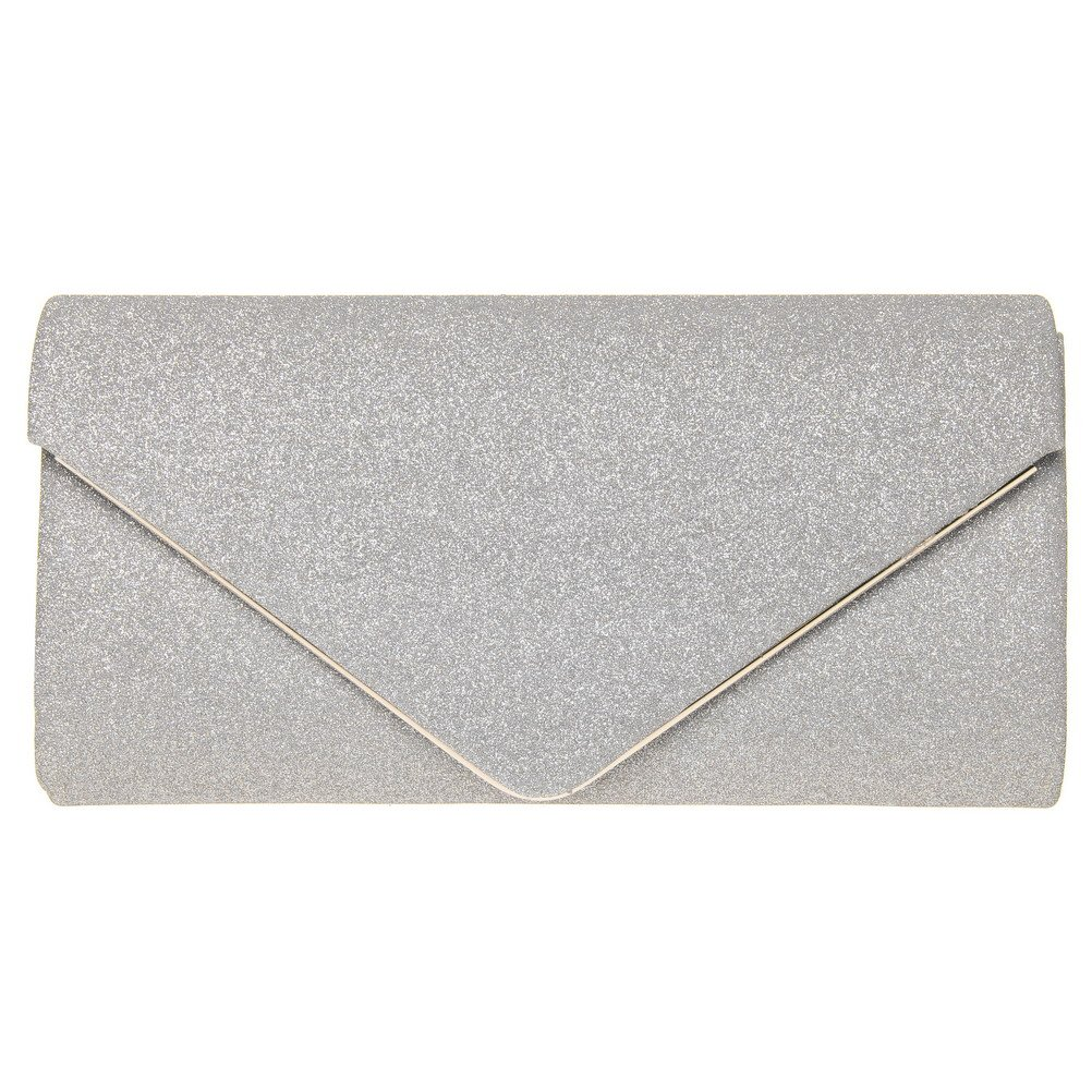 FASHIONROAD Evening Clutch, Womens Shining Envelope Clutch Purses, Handbag for Wedding & Party Silver