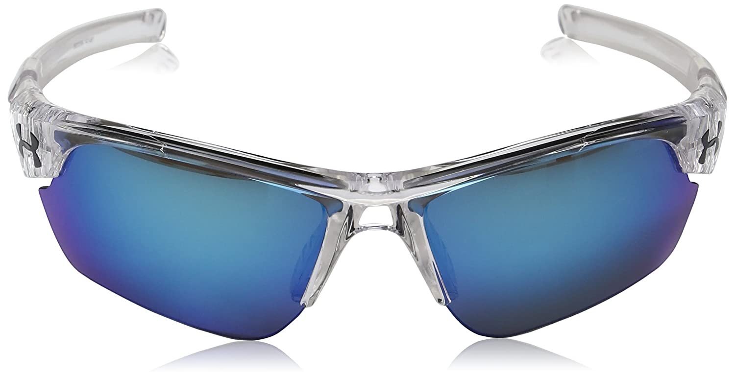 d025a1100a1 Amazon.com  Under Armour Wrap Sunglasses UA WINDUP Crystal Frosted Clear  Frame Gray Blue MULTIFLECTION Lens