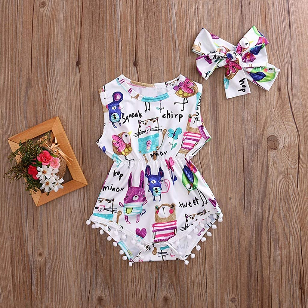 2PCS Kids Baby Girl Sleeveless Printed Tassel Romper Jumpsuit with Headbands Set