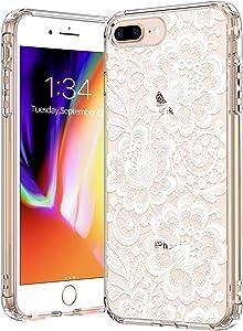 BICOL iPhone 8 Plus Case,iPhone 7 Plus Case,Elegant Floral Henna Mandala Flower Pattern Clear Design Plastic Hard Back Case with TPU Bumper Protective Case Cover for Apple iPhone 7 Plus/8 Plus