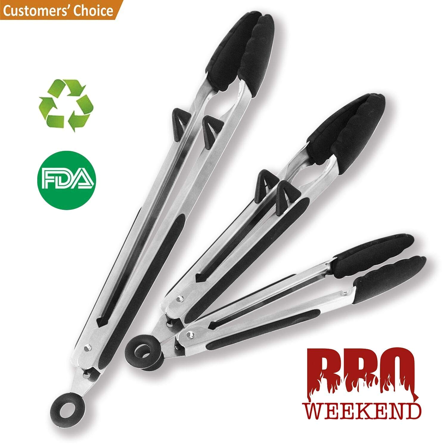 Kitchen Tongs Set Stainless Silicone Cooking Tongs - 3 piece Set of 7,9 and 12 inch Heat Resistant Locking Salad Tongs with Built-in Stand - A Serving and Feeding Set for BBQ,Grill,Salad,Cooking Arzerlize