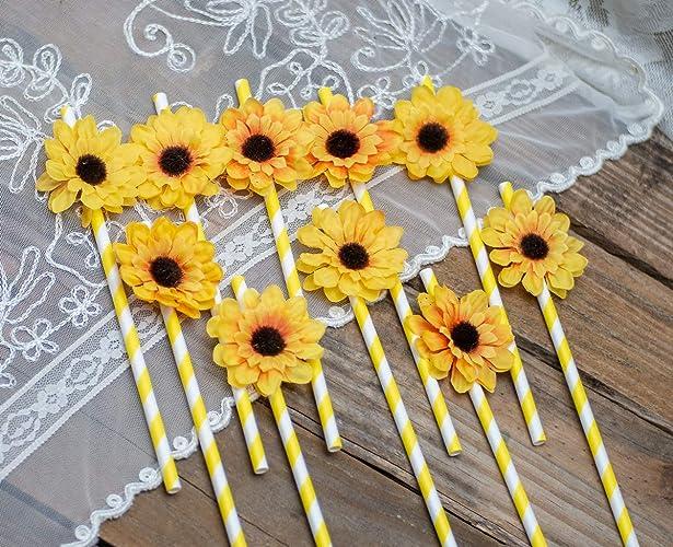 f7cf10c7e7459 Amazon.com: Baby Shower Decor, Sunflower Baby Shower, Party Straws ...
