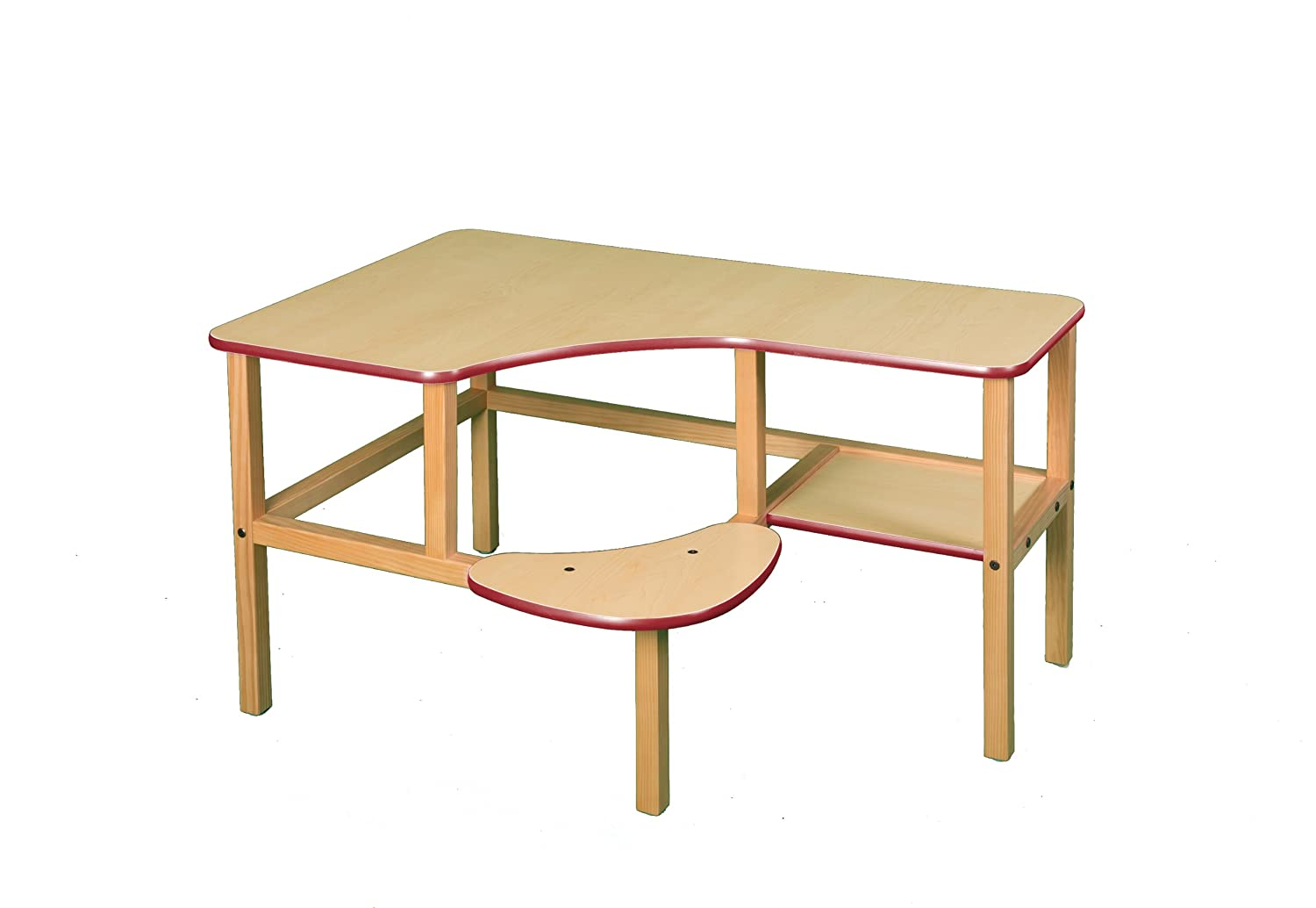 Wild Zoo Furniture Childs Wooden Computer Desk for 1, Ages 2 to 5, Maple Red