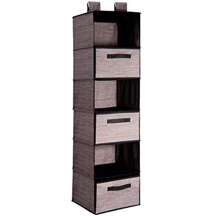 Superbe MaidMAX 6 Tiers Cloth Hanging Shelf For Closet Organizer With 3 Drawers And  2 Widen Straps