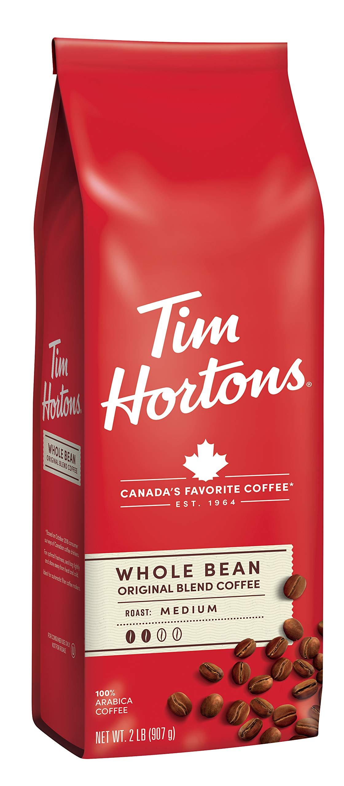 Tim Hortons Whole Bean Original, Medium Roast Coffee, Made with 100% Arabica Beans, 32 Ounce Bag