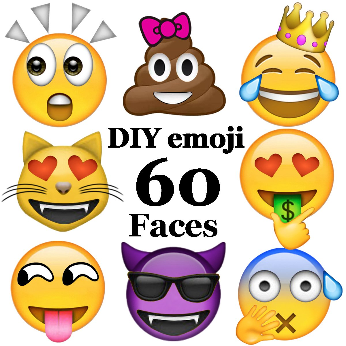 Ivenf 60 Faces DIY Extra Large Fun Emoji Face Stickers, Teacher Reward Stickers for Prizes, Kids Party Supplies Favors Decoration Games, 9 sheets