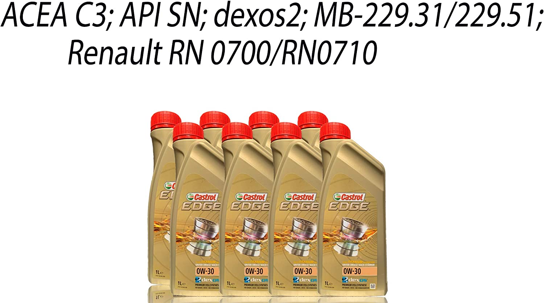 8x 1 L 8 Liter Castrol Edge Fluid Titanium 0w 30 Motoröl Inkl Castrol Ölwechselanhänger Auto