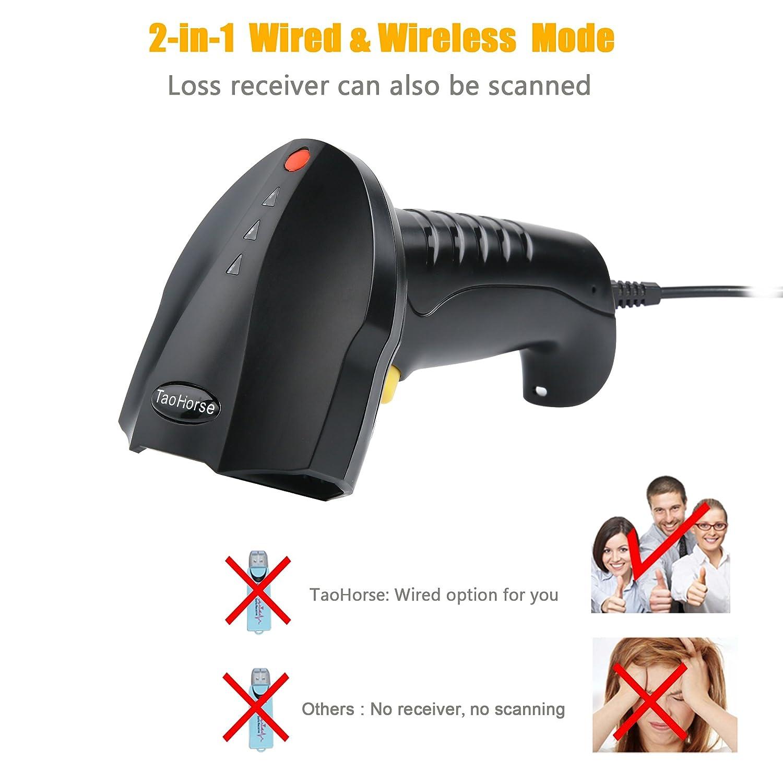 Amazon.com : TaoHorse 2-in-1 2.4GHz Wireless & USB Wired Barcode ...
