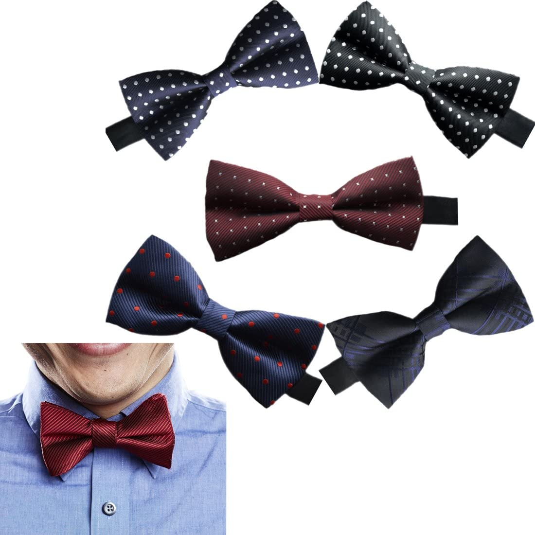 A Sept.Filles Mens Tie Clip On Bow Tie Packs of 5