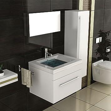 Badmöbel Set Mit Hochschrank Waschbecken Mineralguss Becken ... Badezimmerschrank Waschbecken