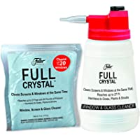 Full Crystal Kit - Bottle, Lid with Hose Attachment, and 4 oz. Crystal Powder Exterior Window Cleaner Packet for Glass and Screens - Shipped Product Packaging May Vary