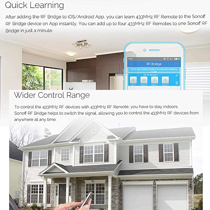 RF Bridge WiFi 433 MHz Replacement Smart Home Automation Universal Switch Intelligent Domotica Wi-Fi Remote RF Controller - - Amazon.com