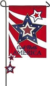 Evergreen Flag God Bless America Star Applique Garden Flag - 12.5 x 18 Inches Outdoor Decor for Homes and Gardens