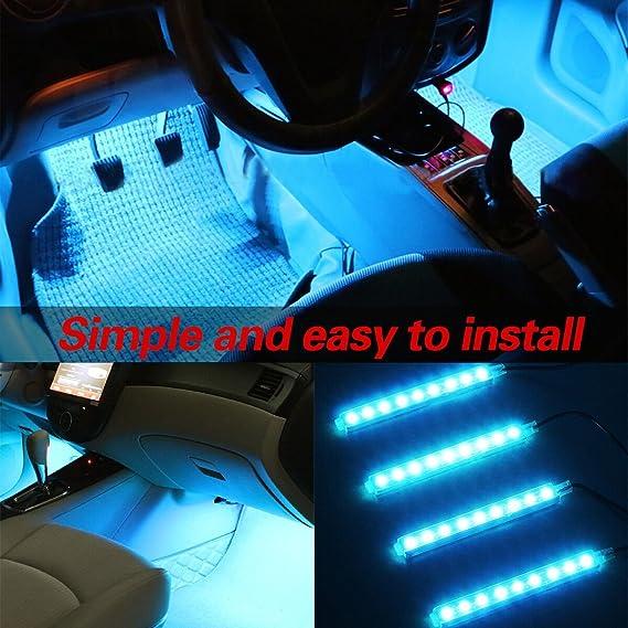 Audew LED Innenbeleuchtung Innenraumbeleuchtung Auto RGB Licht Atmosph/ä re Strip Licht 4/× 9 RGB Lampen mit Fernbedienung AUDEWA7MLhx0Y9
