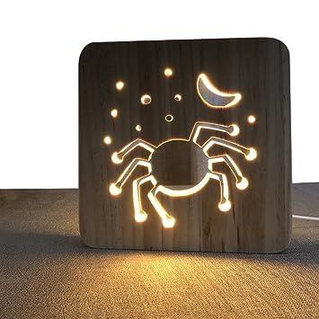 Amazon.com: Araña forma hueca de madera lámpara de noche ...