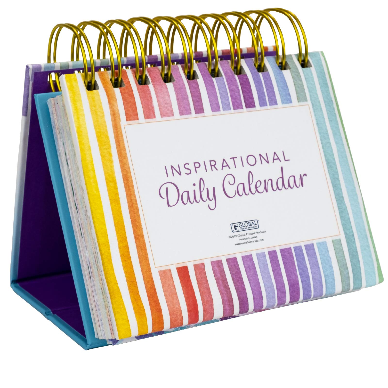 Motivational & Inspirational Perpetual Daily Flip Calendar with Self-Standing Easel by Excello Global Products