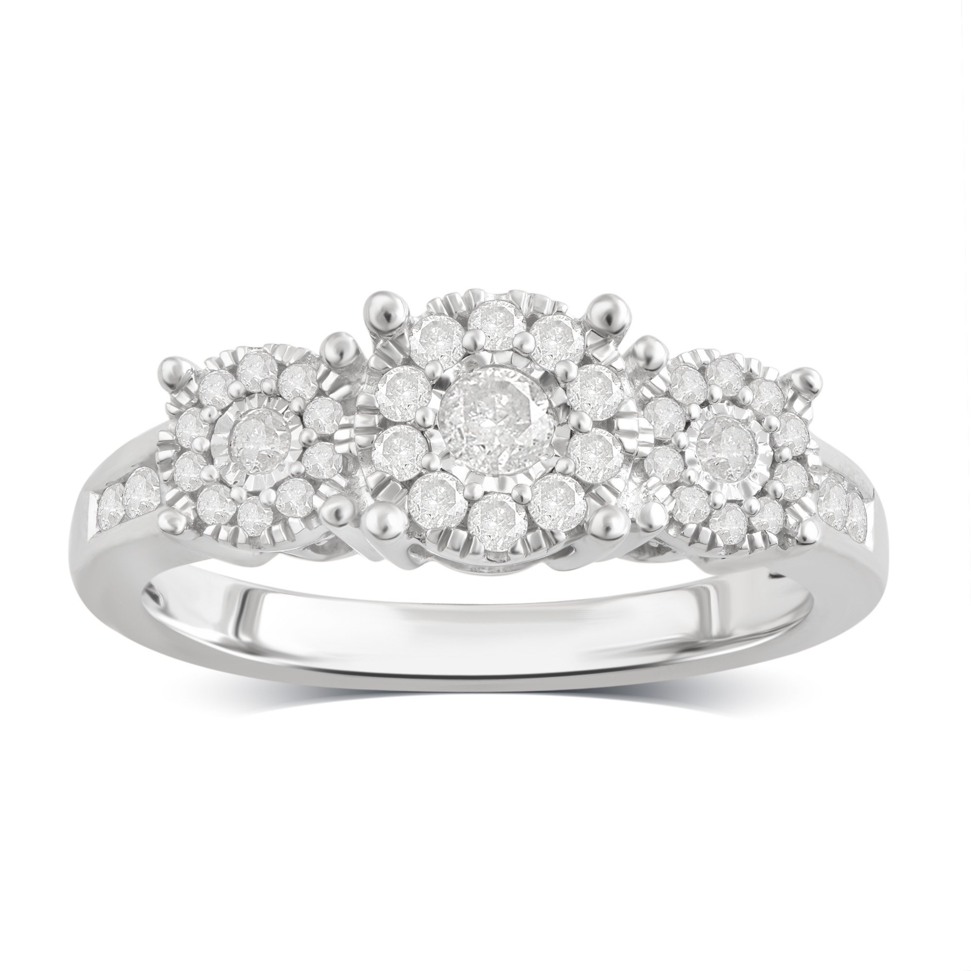 Sterling Silver Diamond Engagement Ring (1/2 cttw, J-K Color, I3 Clarity)