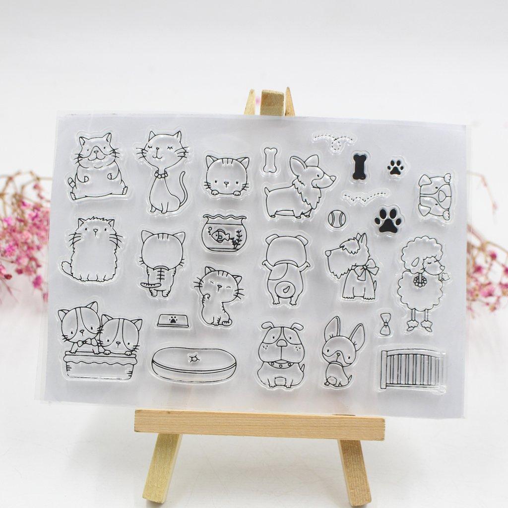 cuigu tabla de silicona sellos transparentes con, diseño de familia de animales, Navidad, dibujo animado, silicona, color transparente, talla única), para manualidades, decoración, álbum de recortes, confection
